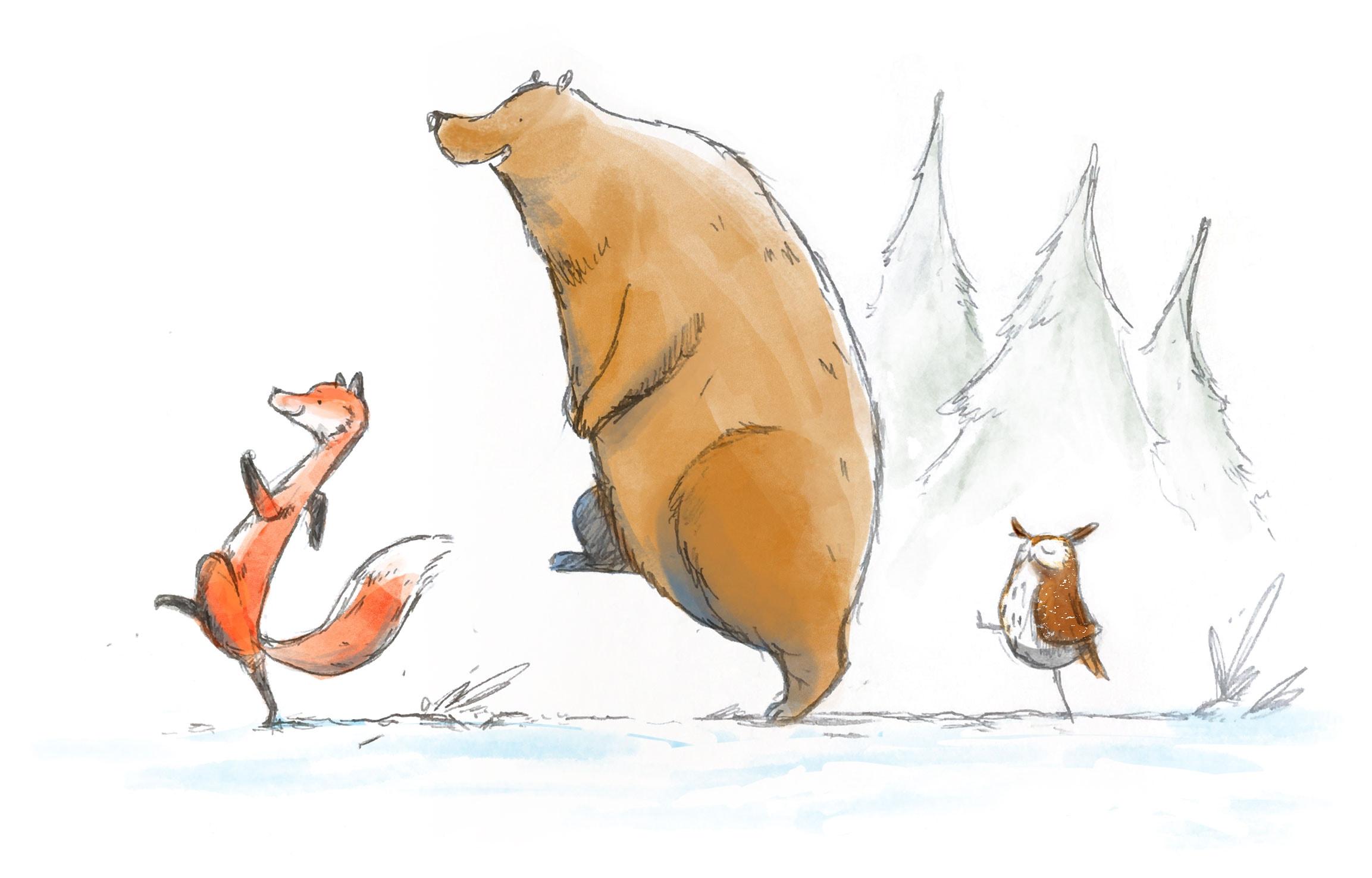 A fox, a bear and an owl go on an adventure